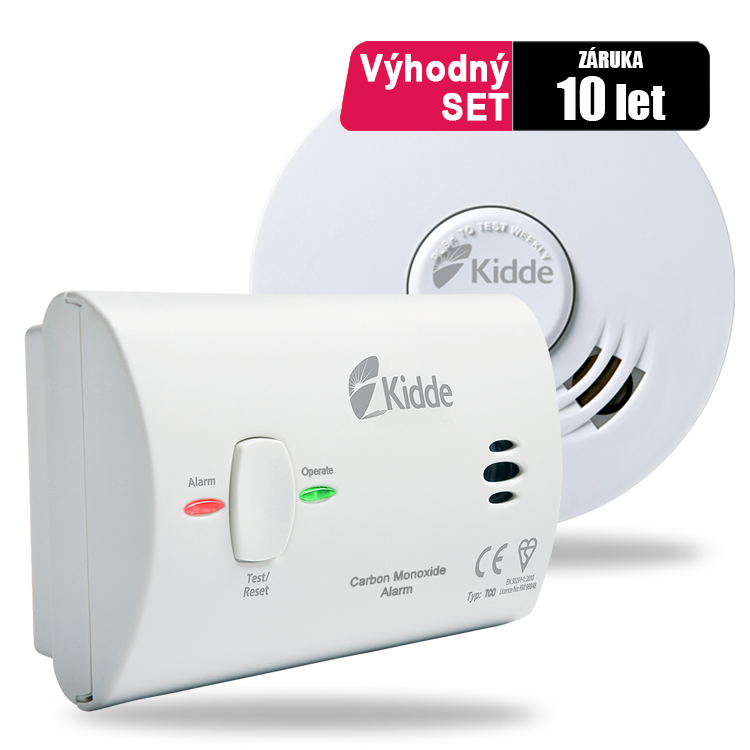 SET Hlásič požáru Kidde 10Y29 + Detektor CO Kidde 7CO + Hasicí sprej SAFE 500
