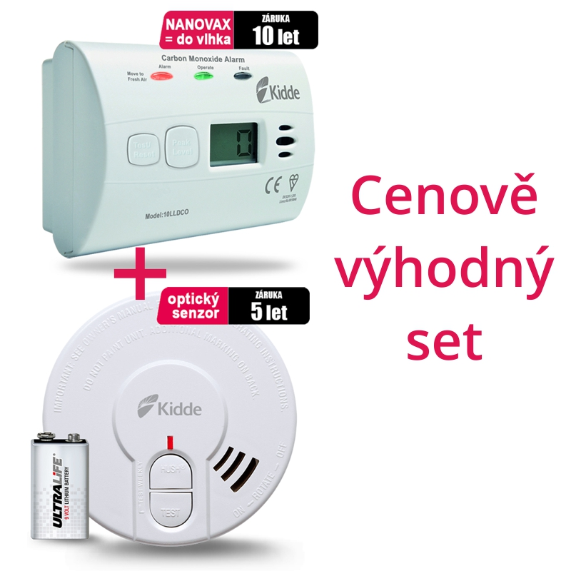 SET Detektor CO Kidde 10LLDCO + Detektor kouře 29HD-L