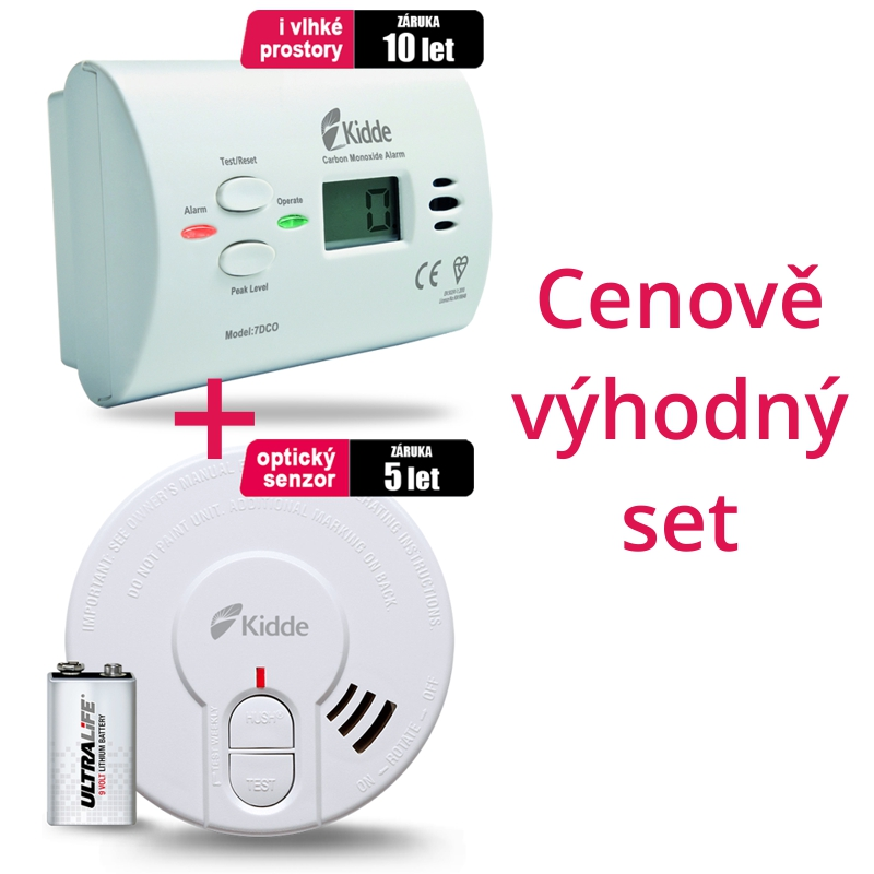 SET Detektor CO Kidde 7DCO + Detektor kouře Kidde 29HD-L